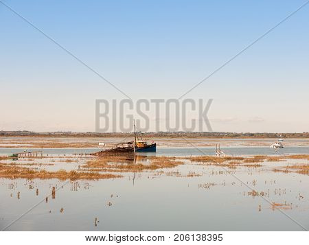 Landscape View Scene Of Estuary River Water Space With Boat