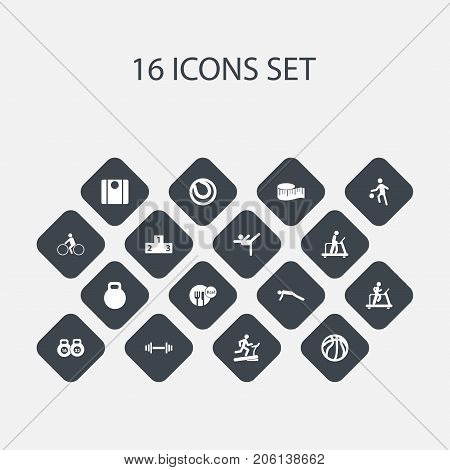 Set Of 16 Editable Training Icons. Includes Symbols Such As Weightiness, Acrobatics, Racetrack Training And More