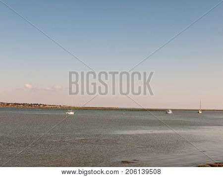 Boats In River Estuary Country Summer Bright Day Sea