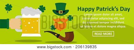 Happy Patricks Day banner horizontal concept. Flat illustration of happy Patricks Day banner horizontal vector concept for web design