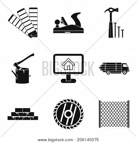 Material handling icons set. Simple set of 9 material handling vector icons for web isolated on white background