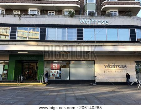 LONDON - NOVEMBER 29, 2016: Exterior entrance to Waitrose John Barnes, Finchley Road, London.