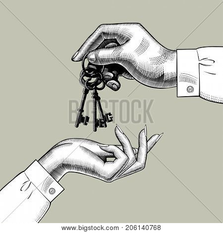 A man's hand gives the keys to a woman's hand. Vintage engraving stylized drawing