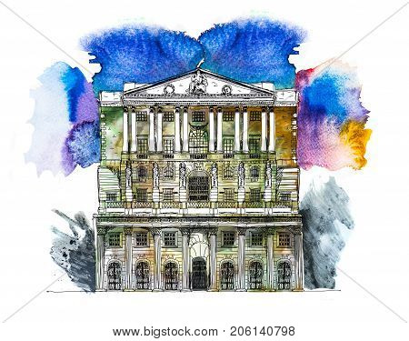 Bank of England in London, UK. Sketch with colourful water colour effects