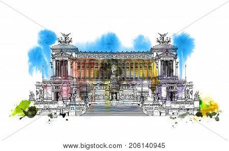 Altar of the Fatherland (Altare della Patria) 1925. Piazza Venezia. Vittorio Emanuele II in Rome, Italy. Sketch with colourful water colour effects