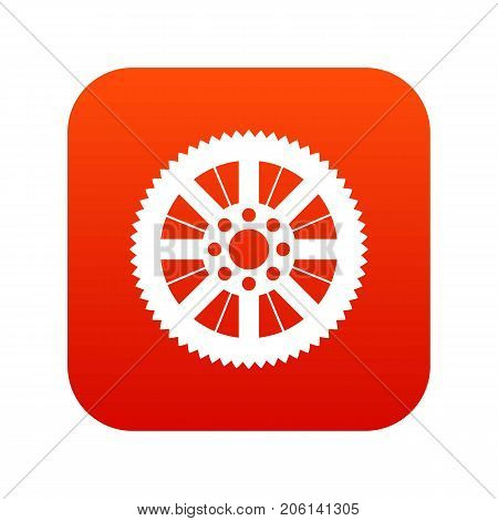 Sprocket from bike icon digital red for any design isolated on white vector illustration