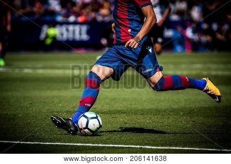 VALENCIA, SPAIN - SEPTEMBER 16: Ivi with ball  during Spanish La Liga match between Levante Ud and Valencia CF at Ciutat de Valencia Stadium on September 16, 2017 in Valencia, Spain