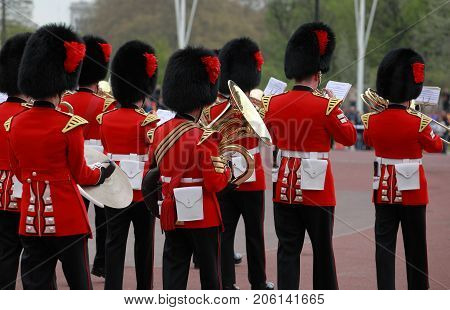 LONDON, ENGLAND - April 26, 2010 - The changing of the guard at Buckingham Palace, London, United Kingdom.