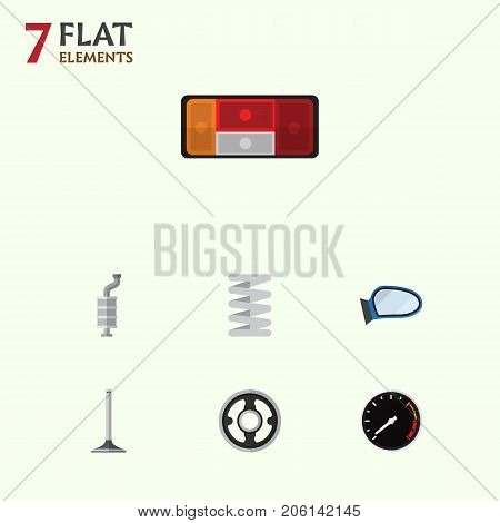 Flat Icon Component Set Of Auto Component, Belt, Crankshaft And Other Vector Objects
