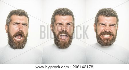 Feeling and emotions. Barber fashion and beauty. Man with long beard and mustache on surprised happy and angry face. Emotion set of bearded man. Guy collage with different emotions isolated on white.