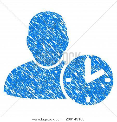 Grunge User Time icon with grunge design and scratched texture. Unclean vector blue User Time pictogram for rubber seal stamp imitations and watermarks. Draft emblem symbol.