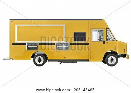 Food car eatery on wheels, side view. 3D rendering