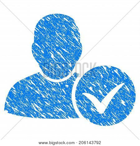 Grunge Valid User icon with grunge design and dirty texture. Unclean vector blue Valid User pictogram for rubber seal stamp imitations and watermarks. Draft sign symbol.