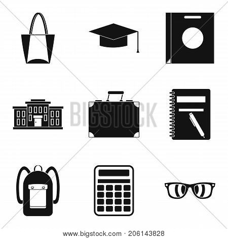 Hand luggage icons set. Simple set of 9 university hand luggage vector icons for web isolated on white background