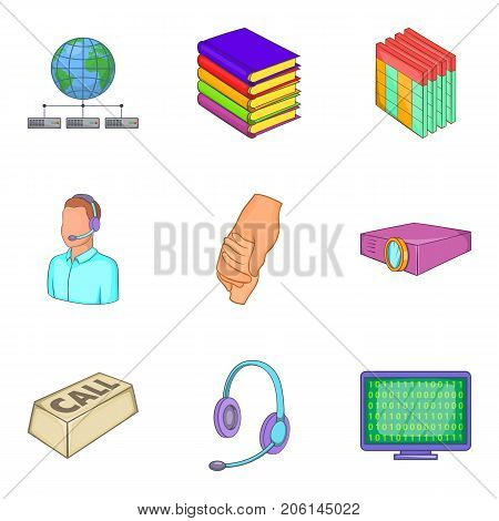 Young specialist icons set. Cartoon set of 9 young specialist vector icons for web isolated on white background