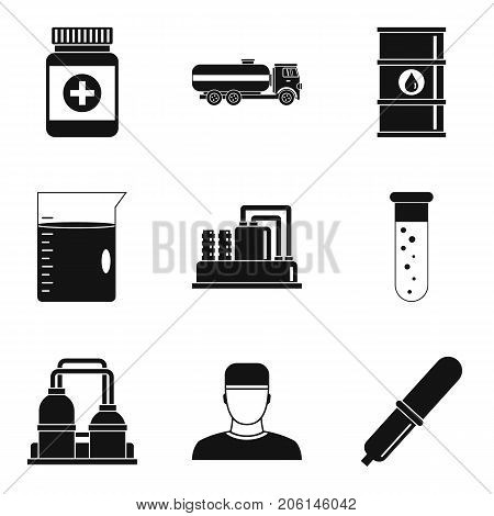 Manufacture of chemicals icons set. Simple set of 9 manufacture of chemicals vector icons for web isolated on white background