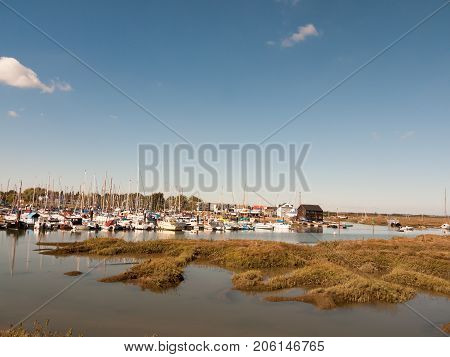 Landscape View Scene Of Boats Moored In Dock Marina Harbour