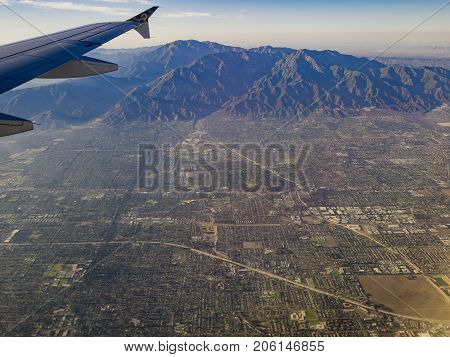 Aerial View Of Upland, Claremont View From Window Seat In An Airplane