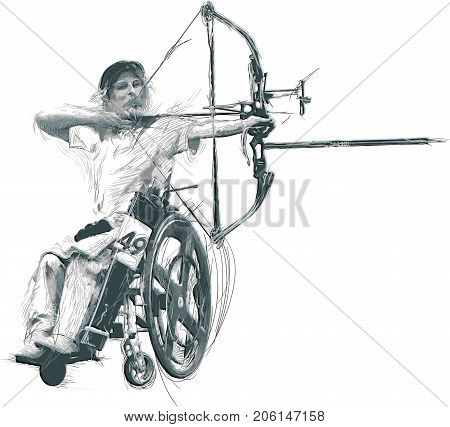 ARCHERY. From the series SILENT HEROES - Athletes with physical disabilities. An hand drawn vector.