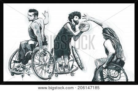 WHEELCHAIR BASKETBALL. From the series SILENT HEROES - Athletes with physical disabilities. An hand drawn vector.