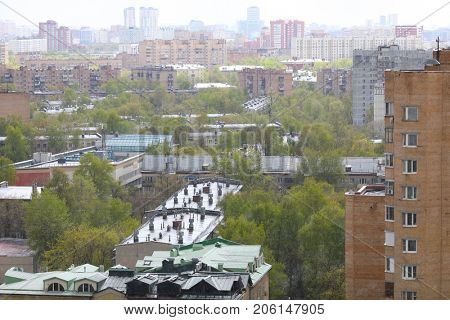 Spring in Moscow, city landscape from window of multi-storey building