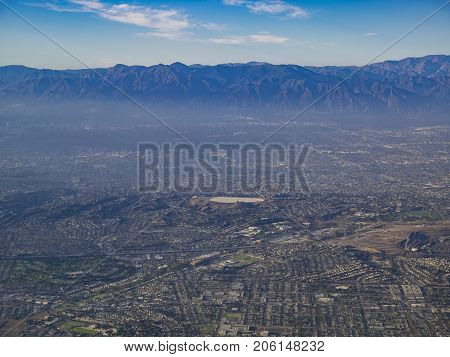 Aerial View Of Monterey Park, Rosemead, View From Window Seat In An Airplane