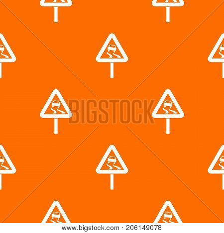 Slippery when wet road sign pattern repeat seamless in orange color for any design. Vector geometric illustration