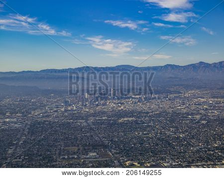 Aerial View Of Downtown, View From Window Seat In An Airplane