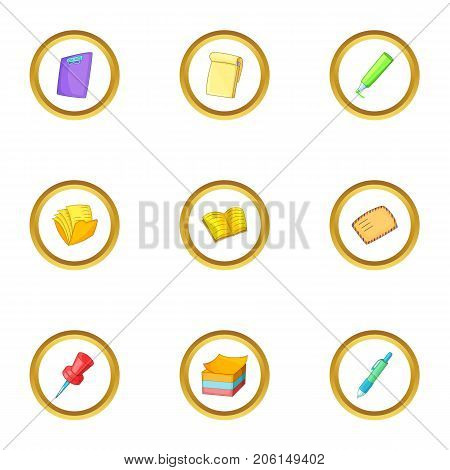 Office equipment icons set. Cartoon style set of 9 office equipment vector icons for web design