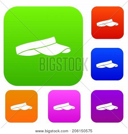 Golf visor set icon color in flat style isolated on white. Collection sings vector illustration