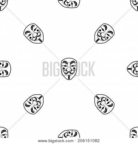 Vendetta mask pattern repeat seamless in black color for any design. Vector geometric illustration