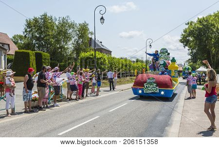 Sainte Marguerite sur Mer France - July 09 2015: Teisseire Caravan during the passing of Publicity Caravan before the stage 6 of Le Tour de France 2015 on 09 July 2015. Teisseire produces fruit juices and syrups for the food service industry.