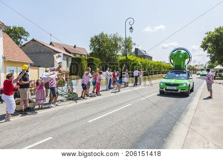 Sainte Marguerite sur Mer France - July 09 2015: The Skoda Caravan during the passing of Publicity Caravan before the stage 6 of Le Tour de France 2015 on 09 July 2015.