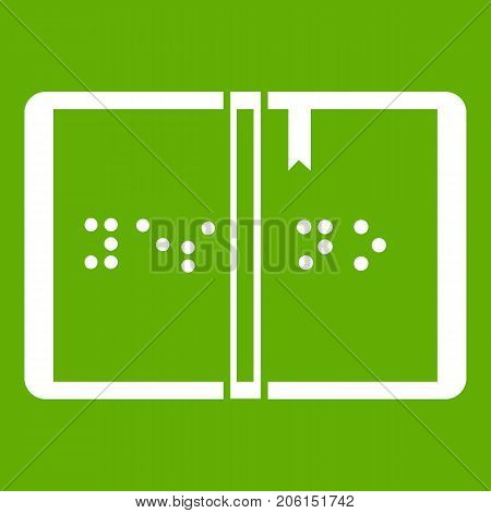 Braille icon white isolated on green background. Vector illustration