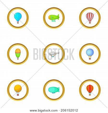 Types of airship icons set. Cartoon style set of 9 types of airship vector icons for web design