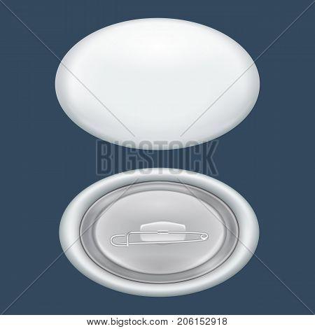 Oval badge mockup. Realistic illustration of oval badge vector mockup for web design