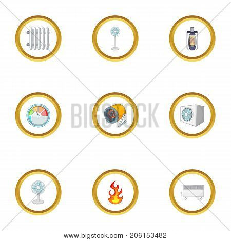 Conditioning icons set. Cartoon style set of 9 conditioning vector icons for web design