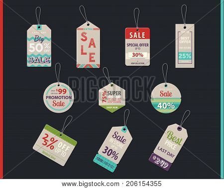 Sale tags and product label with prices and discount coupons for special offer, promotion badges and store promo stickers. Trading and market, shop and store, buying and selling theme