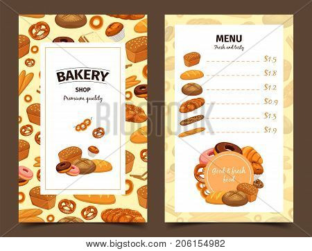 Menu with prices for bread and banner with bakery. Pastry for butterbrot and badge with baton or baguette, anadama and french donut, bagel and kringle, dough products. Food and eating theme