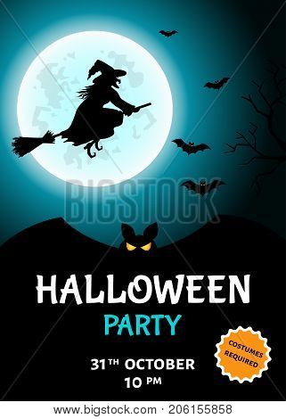 Halloween  Party   Invitation With  Witch  Silhouette, Broomstick, Bat  And Moon.