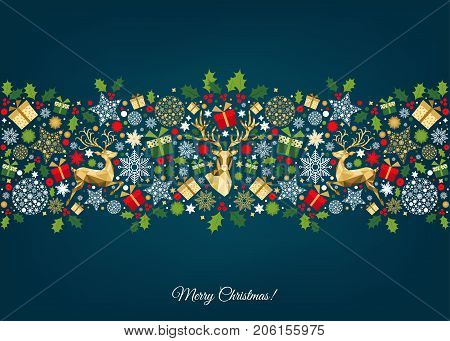 Christmas Pattern With Golden, Red, Green, White  Tree Decoration.