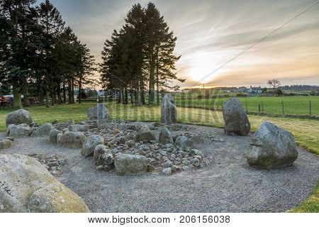 The inside of Cullerlie Stone Circle, Aberdeenshire.