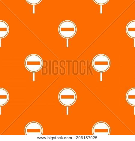 No entry sign pattern repeat seamless in orange color for any design. Vector geometric illustration