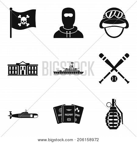 Rest in army icons set. Simple set of 9 rest in army vector icons for web isolated on white background