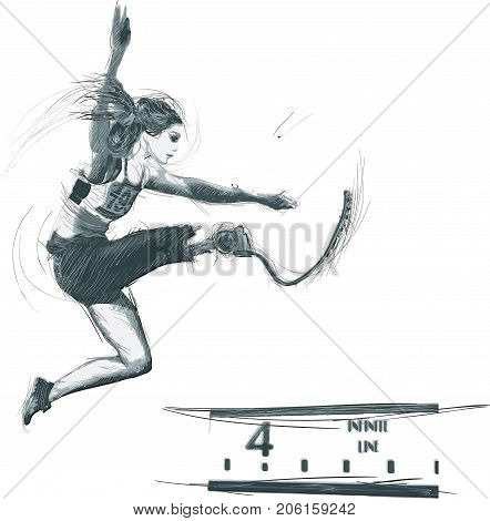 Athletics- LONG JUMP.From the series SILENT HEROES- Athletes with physical disabilities.Hand drawn vector.