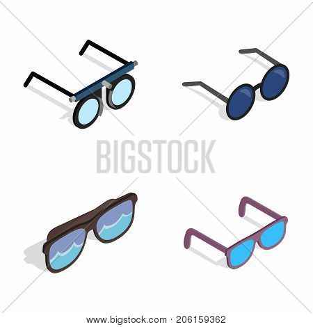Glasses icon set. Isometric set of glasses vector icons for web isolated on white background