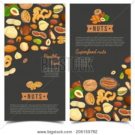 Vertical posters for vegan nut nutrition. Vegetarian walnut and veggie almond, nutmeg as market sign or shop banner, store badge. Harvest and agriculture, food and cuisine, plant theme