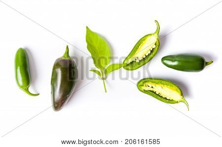 Green Jalapenos Peppers On White Background