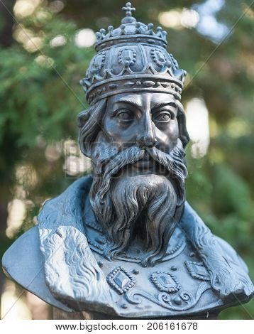 September 23 2017 Moscow Russia Bust of Tsar Ivan IV of Grozny made by Zurab Tsereteli on the Rulers Alley in Moscow.