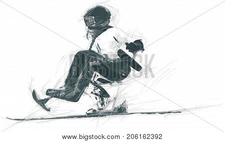 ALPINE SKIING. From the series SILENT HEROES - Athletes with physical disabilities. An hand drawn vector.
